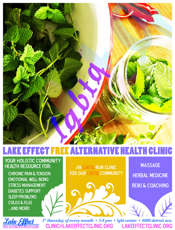 Flyer for Lake Effect's LGBTQ Free Alternative Health Clinic